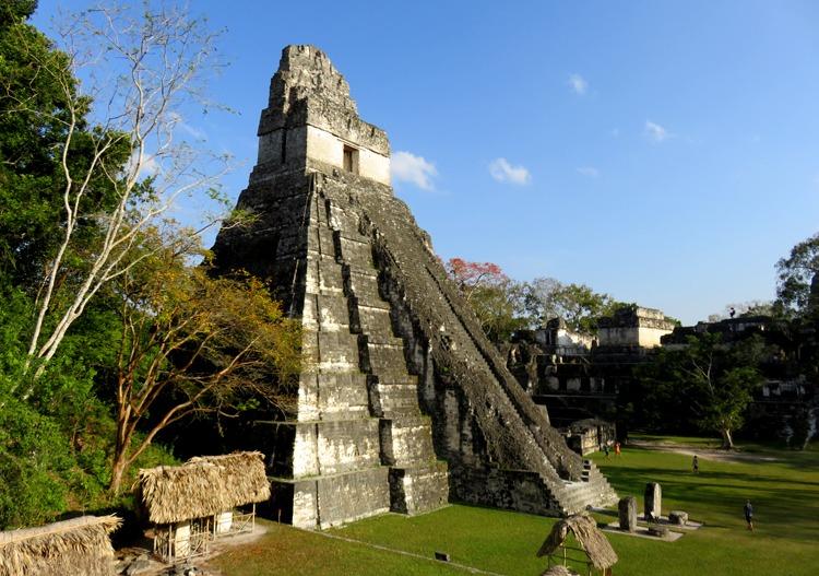 great jaguar temple tikal at sunset